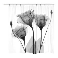 Laural Home Black and White Gentian Shower Curtain