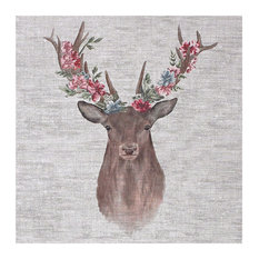 """""""Floral Stag"""" Printed Canvas, 50x50 cm"""