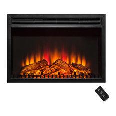 AKDY Black Freestanding 1 Settings Logs Electric Fireplace Heater w/ Remote