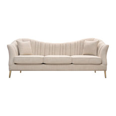 Ava Sofa With Gold Legs, Sand Linen