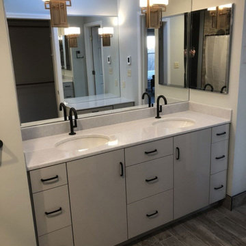 Master Bathroom. Zero Entry Shower, Vanity & Make-Up Cabinet and Dual Sinks