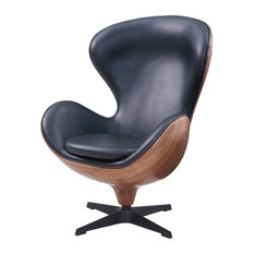 Nero PU Leather Swivel Chair, Monaco Black by New Pacific Direct Inc.