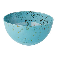 Luxe Art Glass Blue Gold Centerpiece Bowl Large Abstract