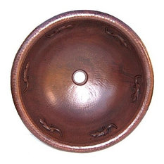Hammered Round Lizard Bathroom Copper Sink
