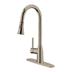 Brushed Nickel Finish Pull-Down Kitchen Faucet LK5B, 1 Hole, 3 Holes