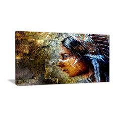 """Indian Woman with Headdress"" Portrait Canvas Art Print, 32""x16"""