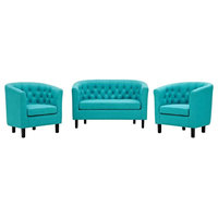 Prospect 3-Piece Upholstered Fabric Loveseat and Armchair Set, Pure Water