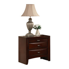 2 Drawer Wooden Nightstand With 1 Pull Out Tray Cherry Brown