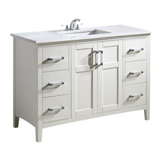 "48"" Bath Vanity, Soft White With Quartz Marble Top"