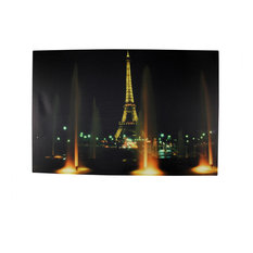 Battery Operated 8 LED Eiffel Tower at Night Scene Canvas Wall Hanging, 23.5""