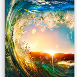 """Design Art USA - """"Colored Ocean Waves Falling Down"""" Modern Glossy Metal Wall Art, 30w X 40h - Bring Contemporary Abstraction to your home with this large 30Wx40H Metal wall art. This Colored Ocean Waves Falling Down Metal Artwork makes it the focal point of any room or office."""