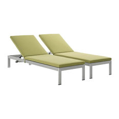 Shore Outdoor Patio Aluminum Chaise With Cushions, Set of 2, Silver Peridot