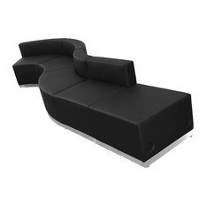 Offex Black Leather Reception Seating Set 5-Piece
