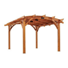 12'x16' Sonoma Arched Wood Pergola With Lattice Roof and Privacy Wall, Redwood