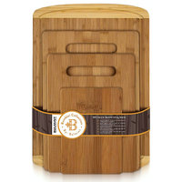 Bamboo 4 Piece Cutting Board Set, Thick Board Comes With With Juice Groove