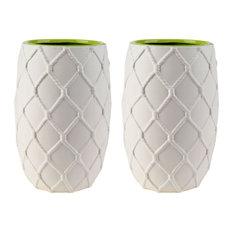 "Nautical Knot Vase, 6""x9"", White, Set of 2"