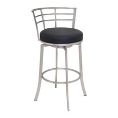 Modern Bar Stool, Stainless Steel Finished Metal Frame & Faux Leather Seat