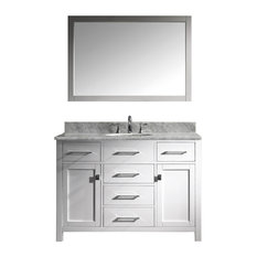 "Virtu Caroline 48"" Single Bathroom Vanity, White With Marble Top, With Mirror"