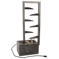 Pure Garden 7, Tier Modern Metal And Concrete Water Fountain
