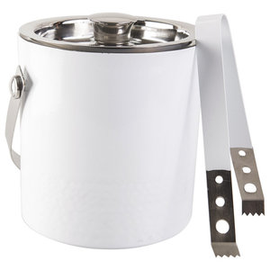 Double-Sided Hammered White Ice Bucket