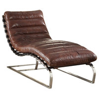 Top Grain Leather Chaise, Vintage Dark Brown and Stainless Steel