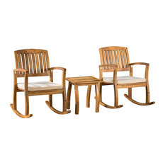 3-Piece South Hampton Rocking Chair With Cushion and Accent Table Set
