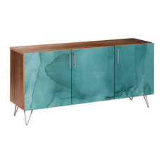 Pacific Waters Hairpin Sideboard Walnut/Chrome