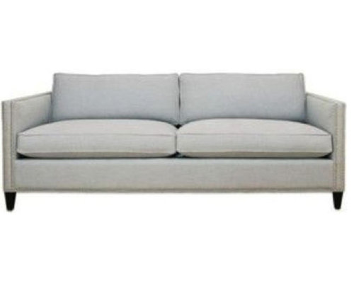 Arhaus Light Grey/Blue Fabric 3 Seater Sofa With Nailhead Trim   Sofas