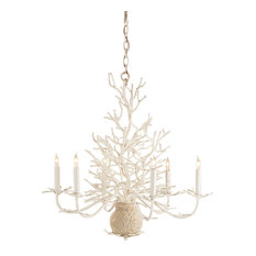 Nature Inspired Seaward Chandelier 6-Light, White Coral/Natural Sand