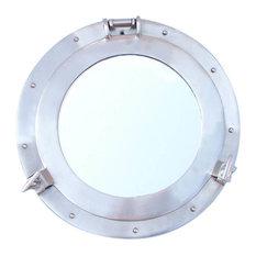 """Decorative Ship Porthole Mirror, Brushed Nickel, 12"""""""