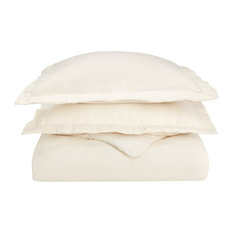 Extra-Warm Cotton Flannel Duvet Cover Set - Full/Queen, Ivory