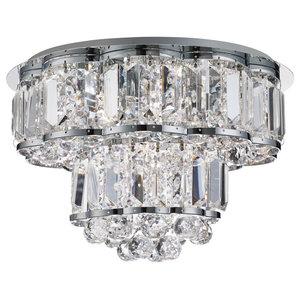 Halley 4-Light Flush Ceiling Light, Chrome With Clear Crystal Ball Drops