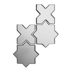 """Reflections 9""""x15"""" Silver Celestial Glass Mirror Mosaic Tile, Set of 10"""