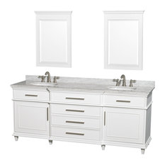 "80"" Double Bathroom Vanity, White With Marble Top, Undermount Sink, Mirrors"