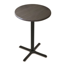 """36"""" Black Wrinkle Indoor/Outdoor Table With Charcoal Top"""