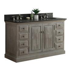 """60"""" Solid Wood Sink Vanity With Dark Limestone Top"""