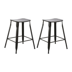 BTExpert Metal Vintage Style Stackable Black Slim Counter Height Stools Set