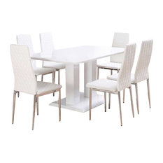 Imperia White High Gloss Dining Table and 6 White Milan Dining Chairs Set