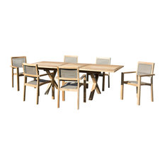 Taupe 7-Piece Outdoor Dining Set With Extendable Table