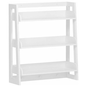 Traditional Bathroom Organizer, Wood With White Finish and 3 Open Shelves