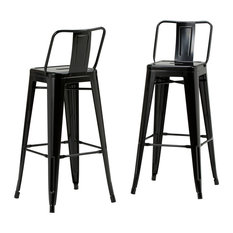 Rayne Metal Bar Stools With Footrests, Black, Set of 2