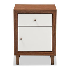 Scandinavian Nightstand Solid Rubber Wood Walnut Brown & White 107