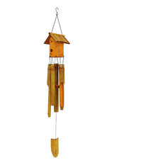 9a3377e5c Sunnydaze Bamboo Decorative Outdoor Garden Bird House Wind Chime - 34-Inch