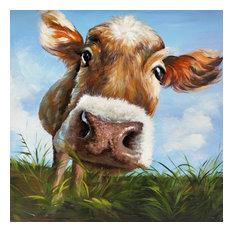 "ArtMaison Canada - ""Cow in Field"" Canvas Print, 24""x24"" - Prints and Posters"