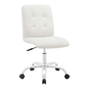 Prim Armless Mid Back Faux Leather Office Chair, White