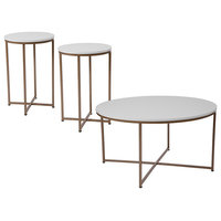 Hampstead Collection 3-Piece Coffee and End Table Set, White