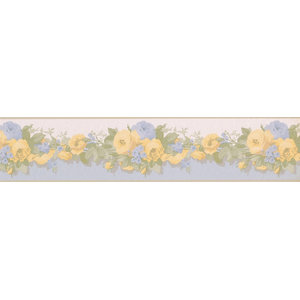 Wallpaper Border Roses Yellow and Blue Floral 5 x 15 31616040