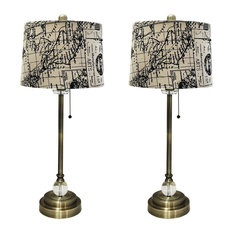 """28"""" Crystal Lamp With Vintage Map Postcard Drum Shade, Antique Brass, Set of 2"""