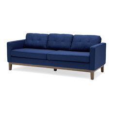 Mid-Century Sofa, Rubberwood Frame With Extra Padded Cushions, Stormy Blue