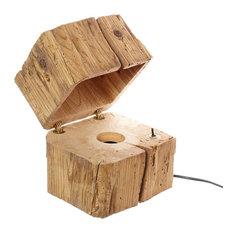 Reclaimed Wood Block Table Lamp